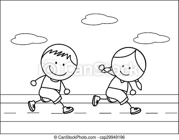 Boy and girl jogging - csp29949196