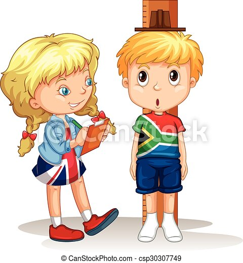 Boy and girl measure the height - csp30307749