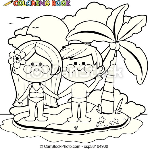 Boy And Girl On A Tropical Summer Island. Vector Black And White Coloring  Page. Vector Black And White Illustration Of A Boy CanStock