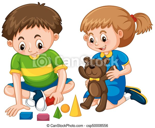 Boy And Girl Play Toys Illustration