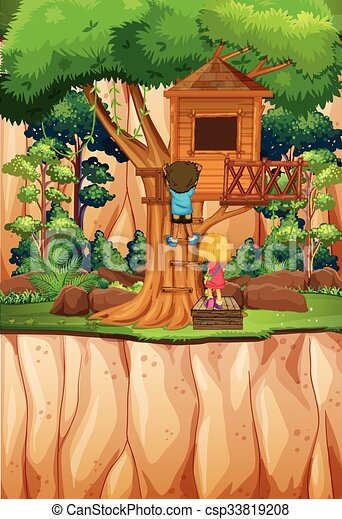 Boy and girl playing at the treehouse - csp33819208