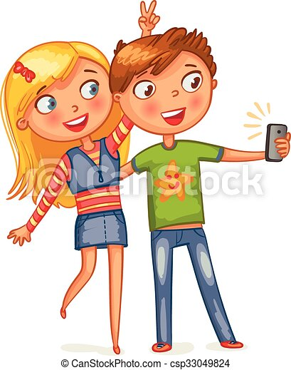 Boy And Girl Posing Together Friends Making Selfie Funny Cartoon