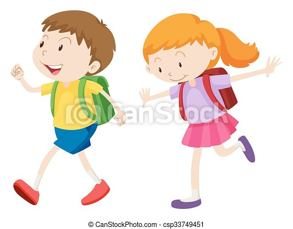 boy and girl running to school illustration rh canstockphoto com girl running clipart free girls running clip art images