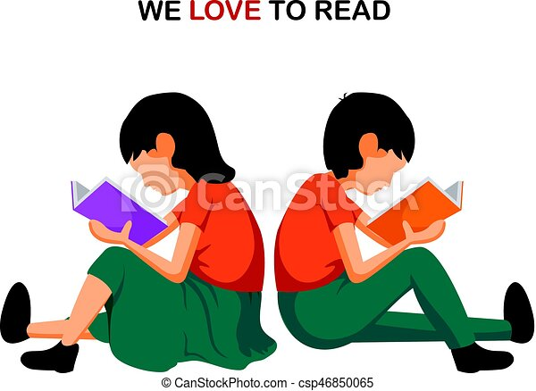 Boy And Girl Sitting And Reading We Love Reading