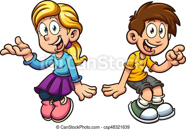 Boy and girl sitting - csp48321639