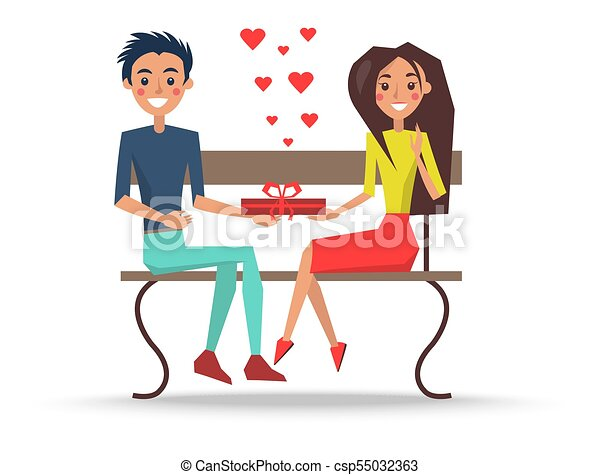 Outstanding Boy And Girl Sitting On Wooden Bench Vector Bralicious Painted Fabric Chair Ideas Braliciousco