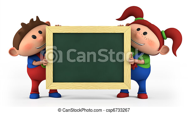 boy and girl with blackboard - csp6733267