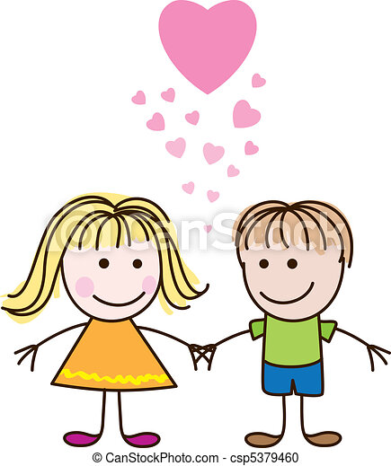 Boy and girl with hearts - csp5379460