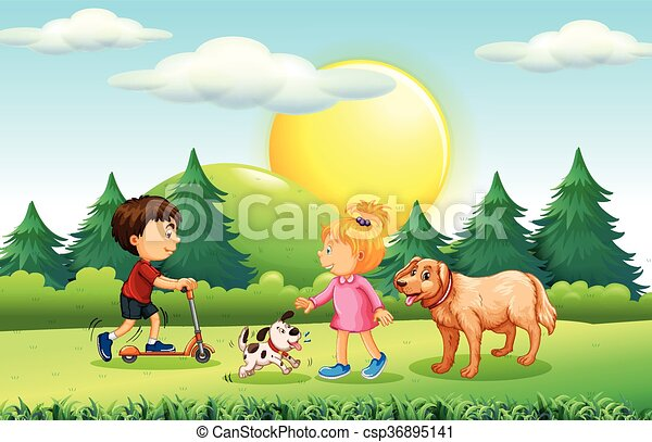 Boy and girl with pets in the park - csp36895141