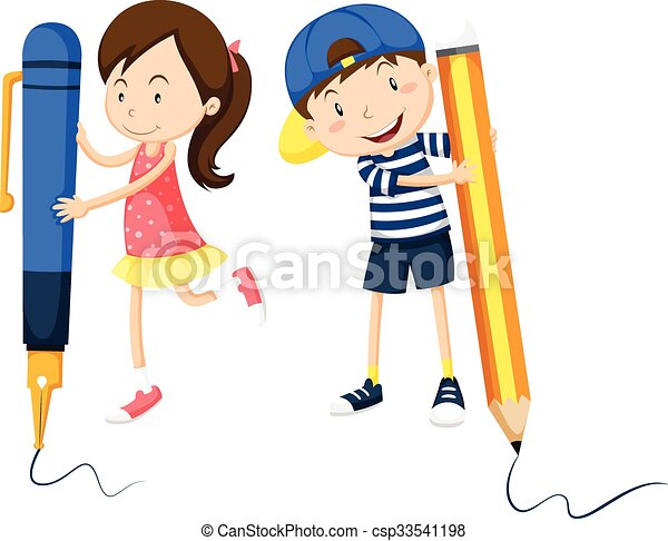 boy and girl writing on the floor illustration eps vectors rh canstockphoto com girl writing clipart black and white Person Writing Clip Art