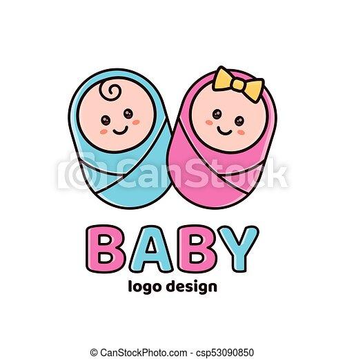 Boy And Girlby Showernewborn Logo Design Template Vector Flat