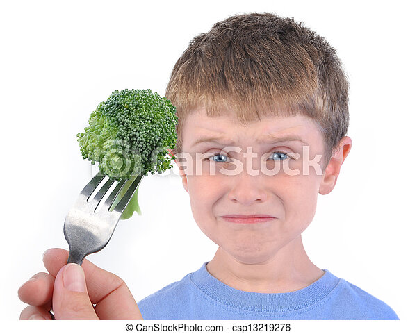 Boy and Healthy Broccoli Diet on White - csp13219276