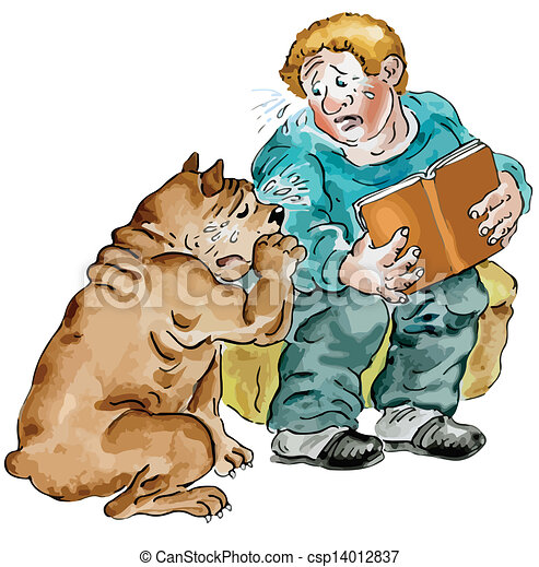 Boy and his dog crying - csp14012837