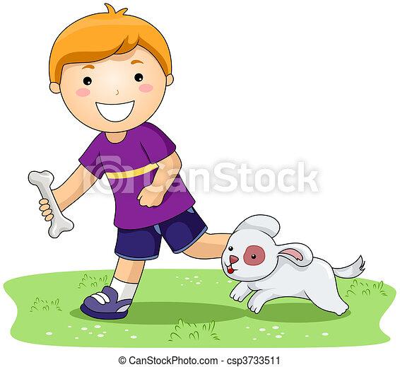 Boy and Pet Dog - csp3733511