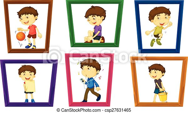 Boy and photo frames. Illustration of a boy in different photo frames.