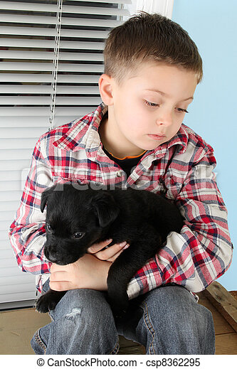 Boy and puppy - csp8362295