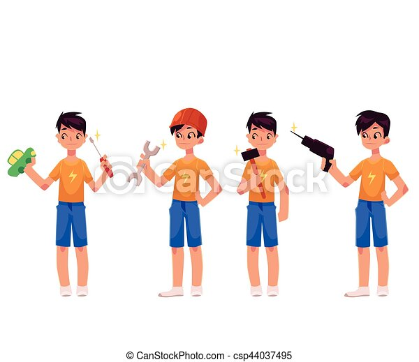 Boy as mechanic, repairman holding screwdriver, hammer, drill, wrench - csp44037495