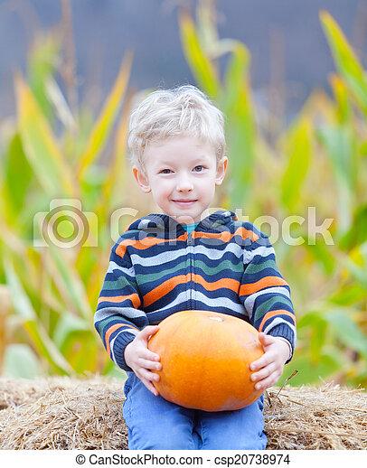 boy at pumpkin patch - csp20738974