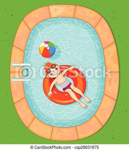 Boy at the Pool - csp28631875