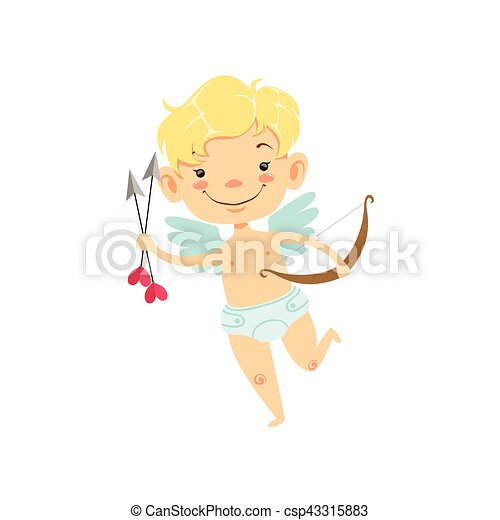 Boy Baby Cupid With Arrows And Bow Winged Toddler In Diaper - Toddler-cartoon-characters