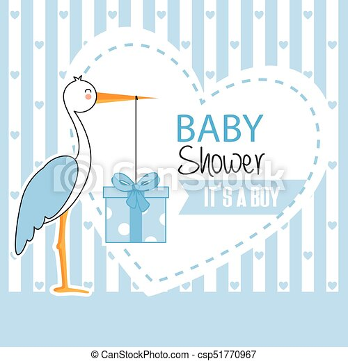 Boy Baby Shower Stork With Gift Pack
