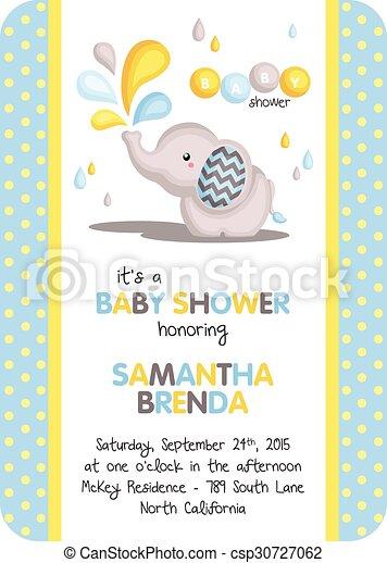Boy baby shower elephant invitation