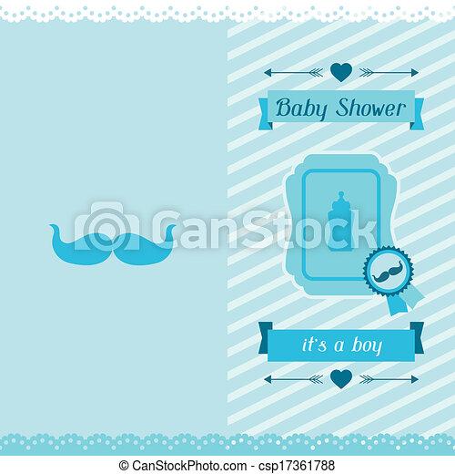 Boy baby shower invitation card. - csp17361788