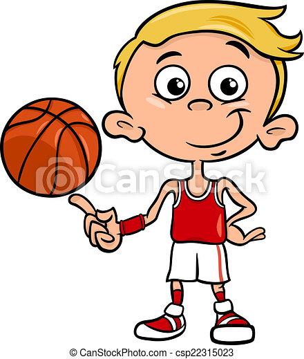 boy basketball player cartoon illustration - csp22315023