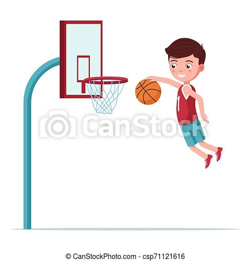 Boy basketball player jumps with the ball - csp71121616