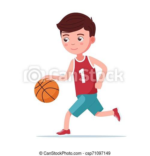 Boy basketball player runs with the ball - csp71097149