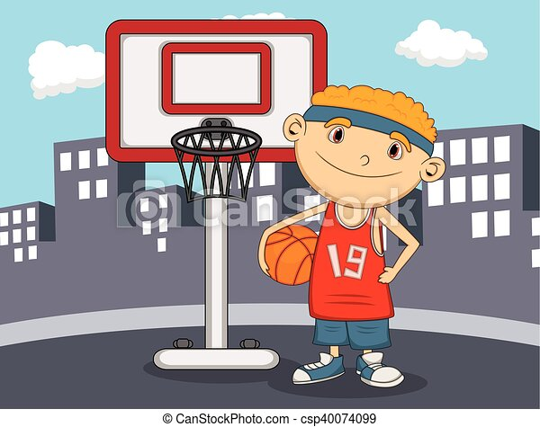 Boy Basketball player with city - csp40074099