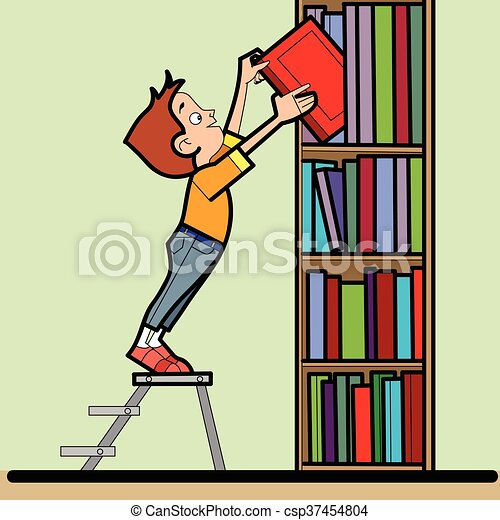boy book library reading line art caricature the student vector rh canstockphoto com library book return clipart overdue library book clipart