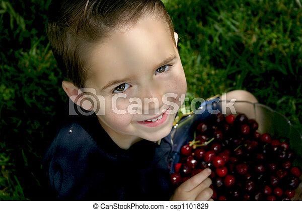 boy bowl cherries 2 - csp1101829