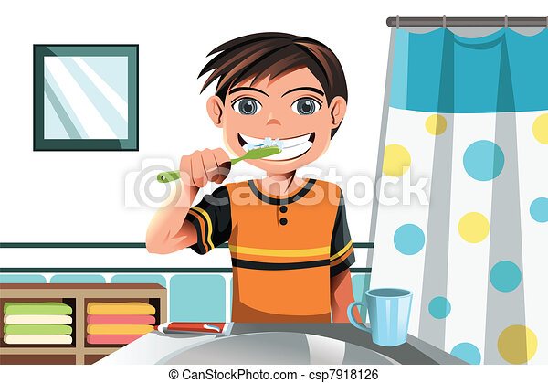 boy brushing his teeth a vector illustration of a boy brushing his rh canstockphoto com free clipart brush teeth brush your teeth clipart