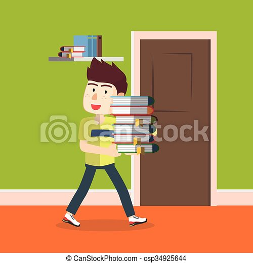 boy carrying a stack of book - csp34925644