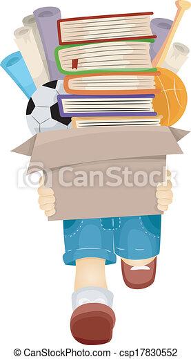 Boy Carrying Books - csp17830552