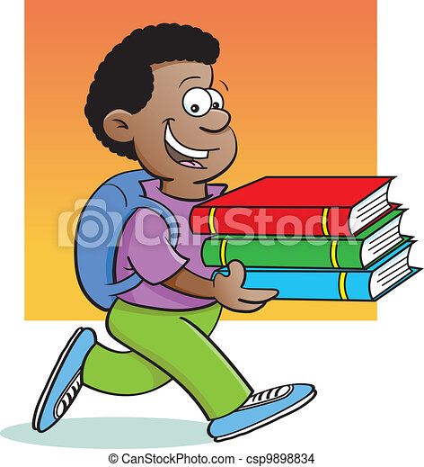 Boy carrying books - csp9898834