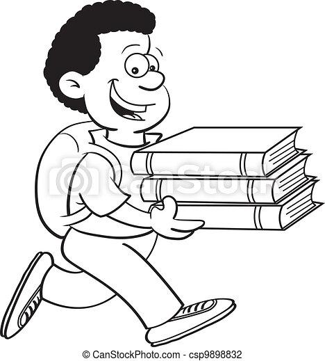 Boy carrying books - csp9898832