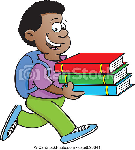 Boy carrying books - csp9898841