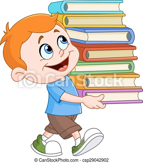 Boy carrying books - csp29042902