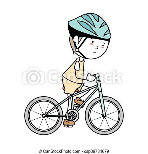 boy cartoon bicycle isolated - csp39734679