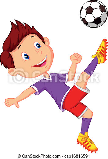 Boy cartoon playing football  - csp16816591