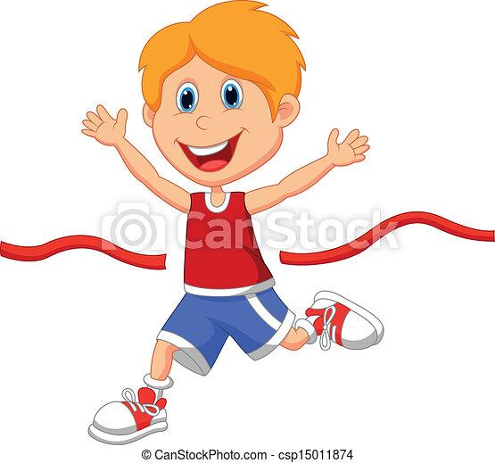 Boy cartoon ran to the finish line  - csp15011874