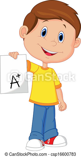Boy cartoon showing A plus grade  - csp16600783