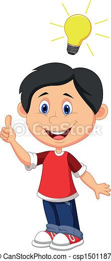 Boy cartoon with a good idea  - csp15011873