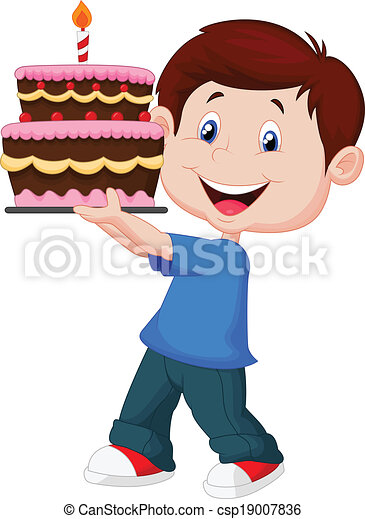 Boy cartoon with birthday cake  - csp19007836