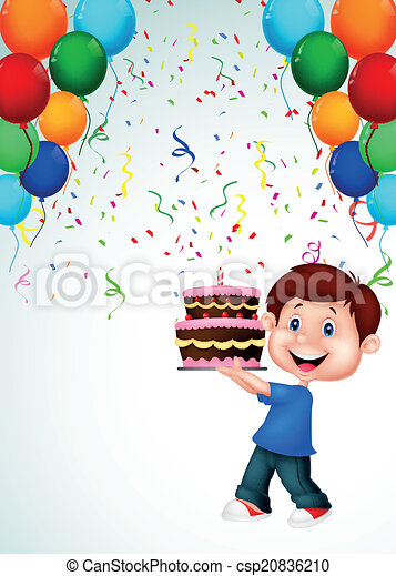 Boy cartoon with birthday cake  - csp20836210