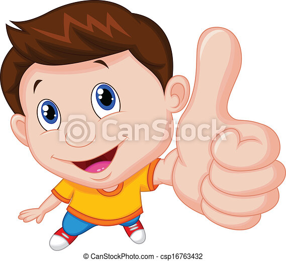 Boy cartoon with thumb up  - csp16763432