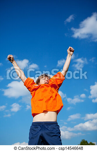 boy celebrating victory - csp14546648