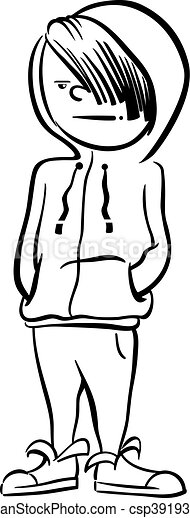 boy character coloring page - csp39193837